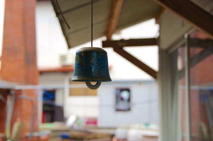 2代目が作った上野焼の風鈴 にぶい音がする